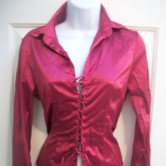 Le Chateau Red Satin Blouse Small